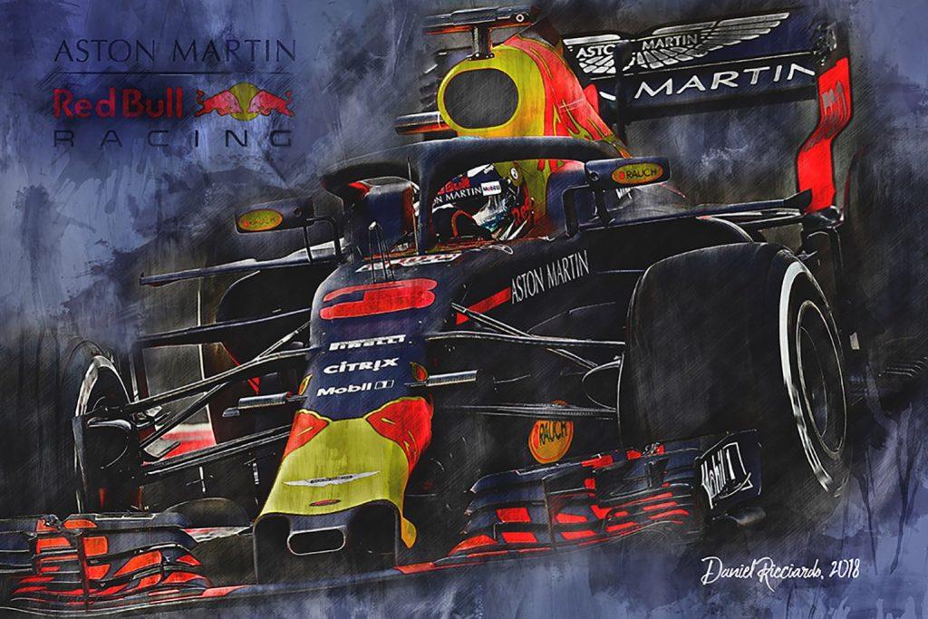 2018 Formula 1 Daniel Ricciardo Canvas Art Red Bull Racing