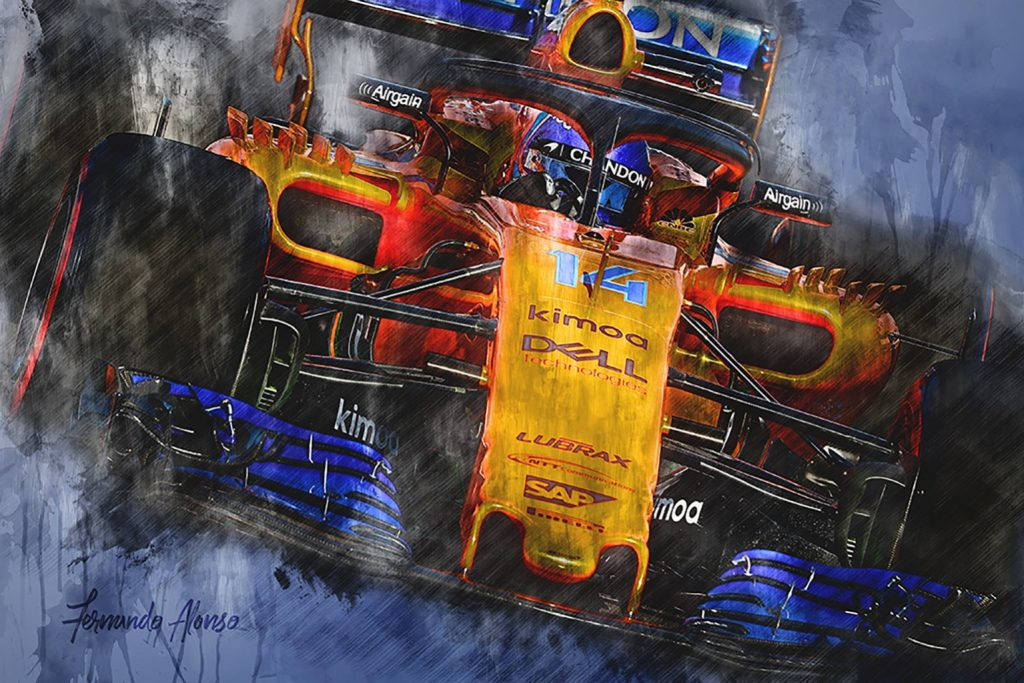 Fernando Alonso Formula 1 Canvas Art 2018