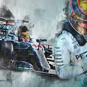 F1 Champion 2017 | Lewis Hamilton | Motorsport Art Canvas