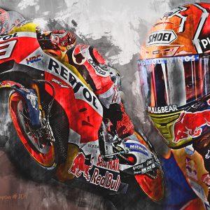 Moto GP Champion 2017 | Marc Marquez | Motorsport Art Canvas