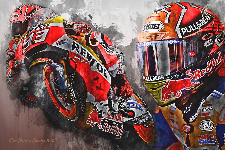 Moto GP Champion 2017 Marc Marquez - Motorsport Art Canvas