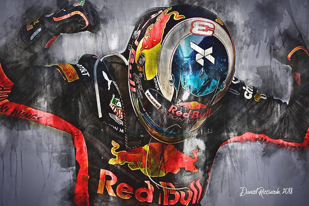 Daniel Ricciardo Team Red Bull Canvas Art 2018