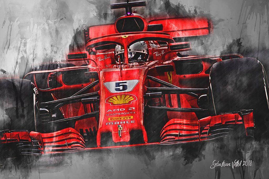 Sebastian Vettel Canvas Art Formula 1 2018 Ferrari