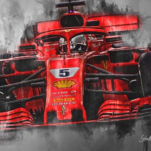 Sebastian Vettel Canvas Wall Art | F1 2018 | 001