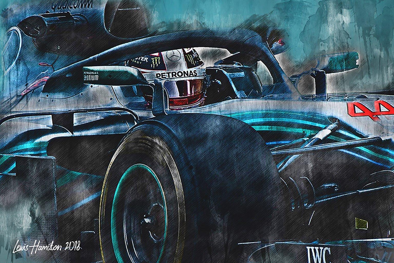 Lewis Hamilton Canvas Wall Art Print F1 2018 001 Motorsport Art
