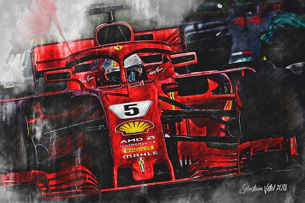 Sebastian Vettel Canvas Art Formula 1 Ferrari