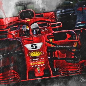 Sebastian Vettel Canvas Wall Art | F1 2018 | 002