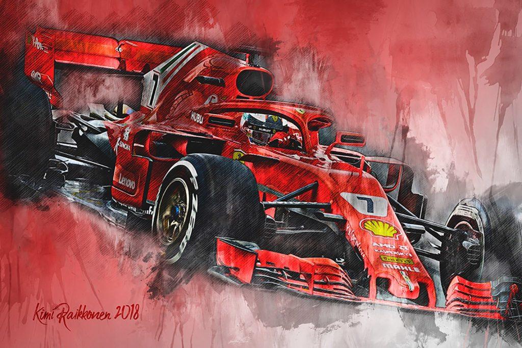 Kimi Raikkonen Canvas Art Formula 1 Ferrari 2018