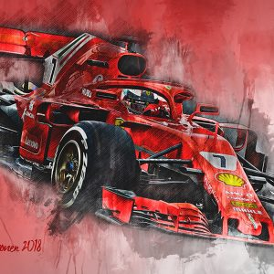 Kimi Raikkonen Canvas Wall Art | F1 2018 | 001